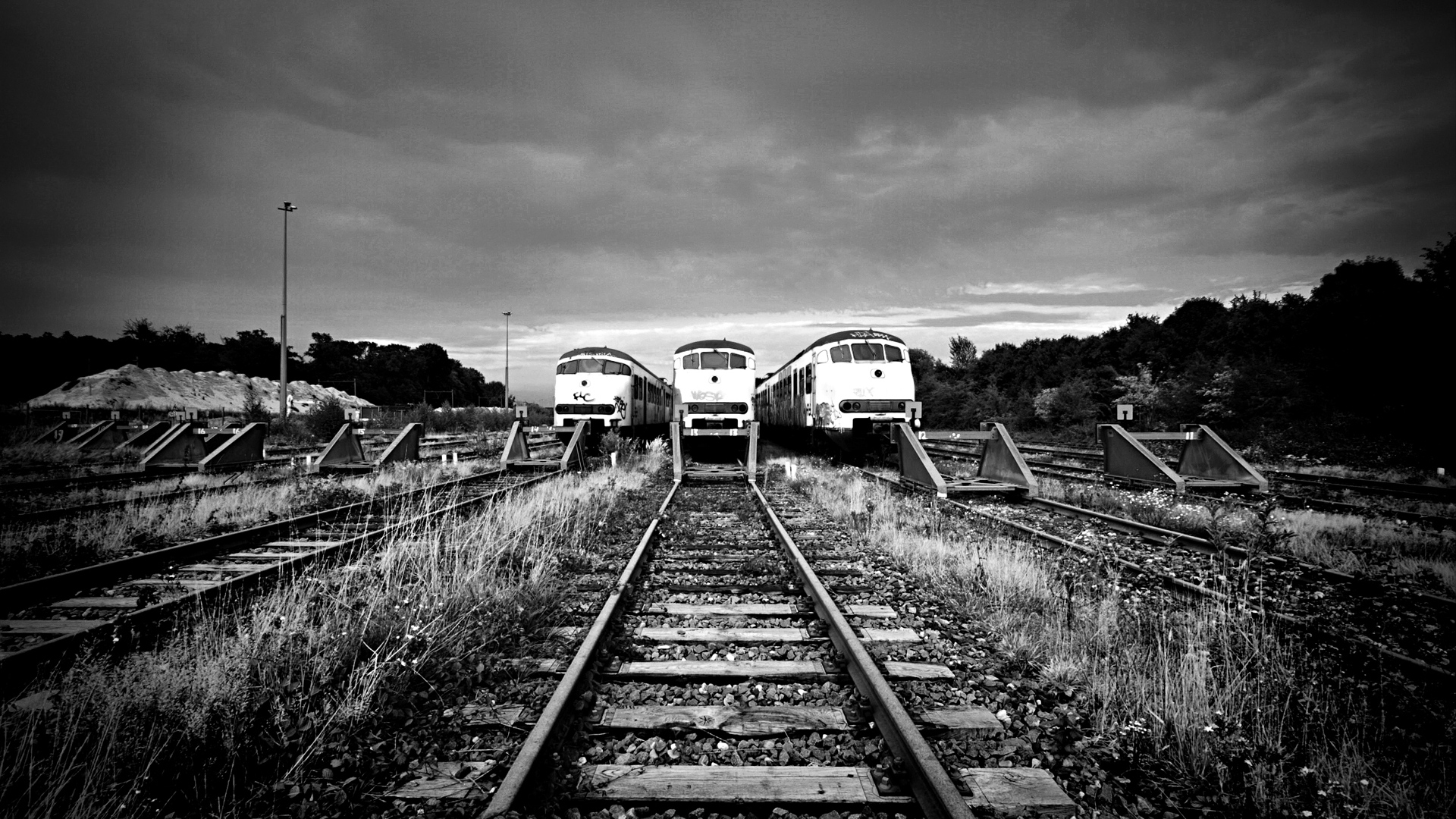 Preview wallpaper train, railway, rails, black and white 1920x1080 - Train Track PNG HD