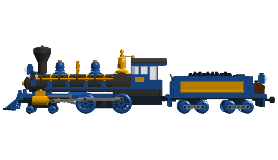 American 4-4-0 Blue Western (Side-View) by Kota123 PlusPng.com  - Trains PNG Side View