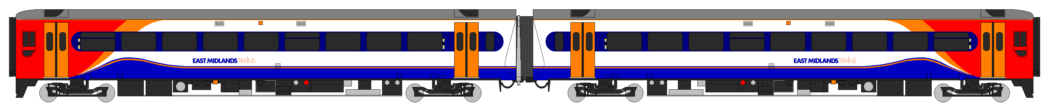 File:Class 158 East Midlands Trains Diagram.PNG - Trains PNG Side View