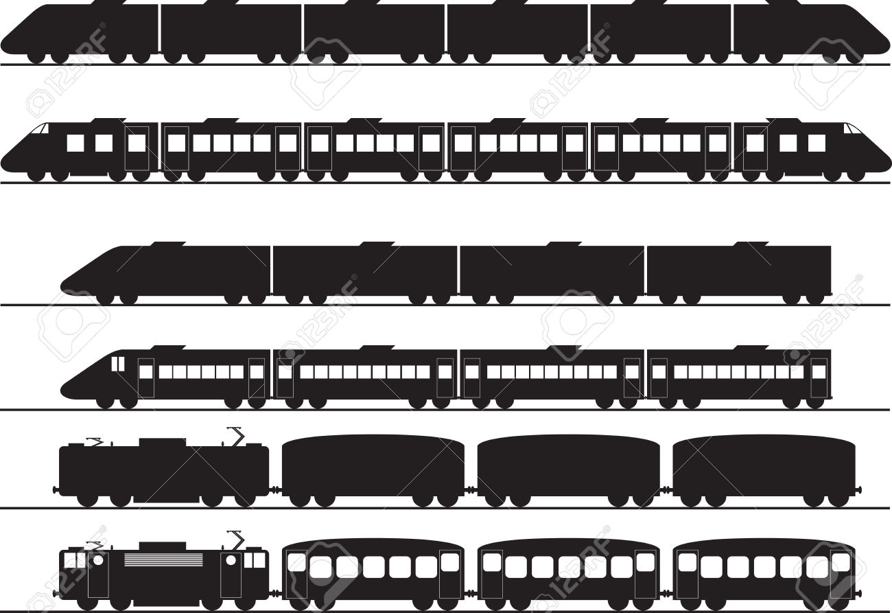 Set of electric and diesel trains illustrated on white Stock Vector -  27245575 - Trains PNG Side View