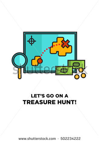 Letu0027s Go On A Treasure Hunt! (Map With Magnifying Glass and Money Line Icon - Treasure Hunt PNG HD