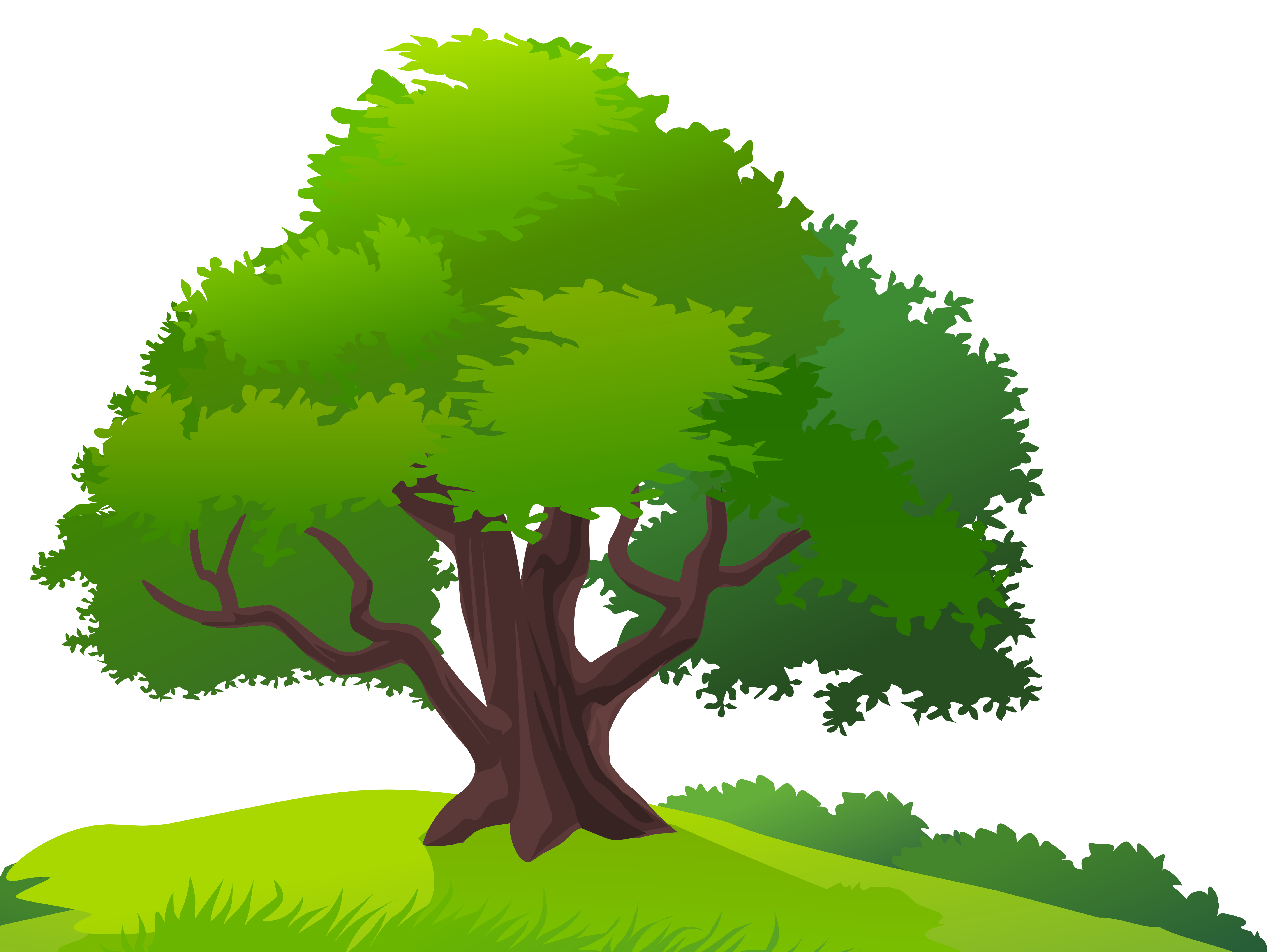 Tree and Grass PNG Clipart Image. - Tree Clipart PNG