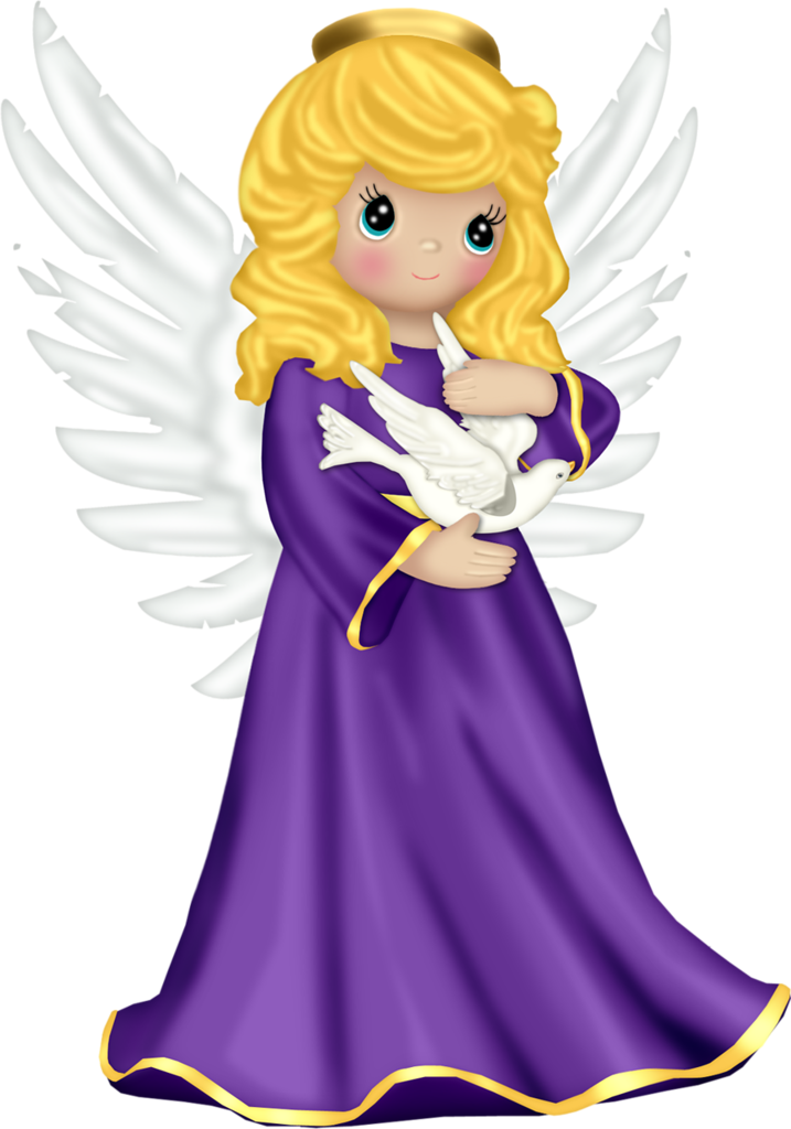 Cute Angel with Purple Robe and Dove Free PNG Clipart - Tree Full Of Angels PNG