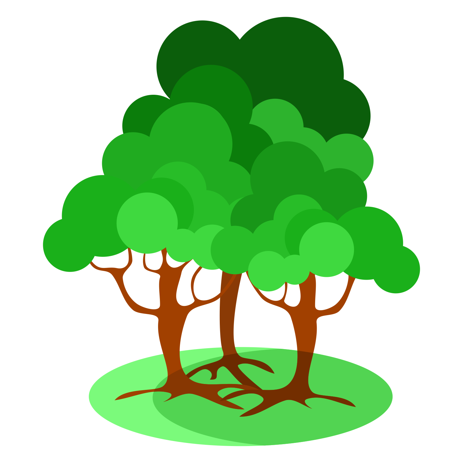 Full size PNG preview: Three trees - Tree PNG Vector