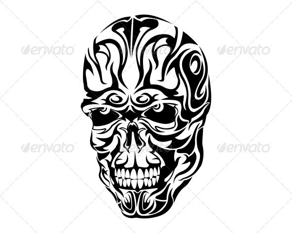 Tribal Skull Tattoo Design - Tribal Skull Tattoos PNG