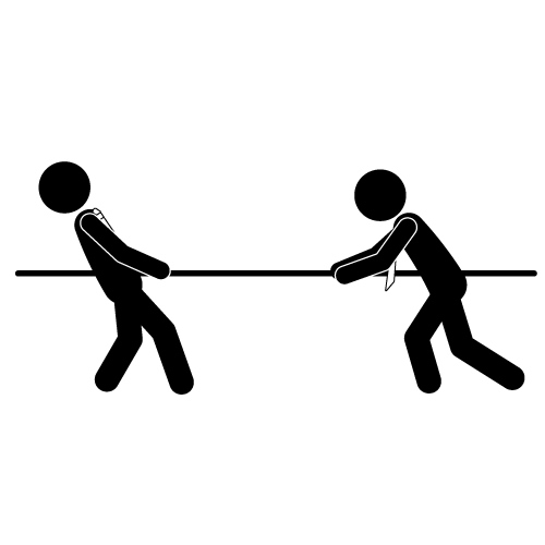 Tug Of War PNG Black And Whit