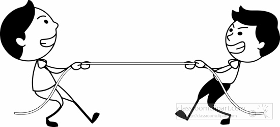 Outdoors black white two boys plating tug of war clipart - Tug Of War PNG Black And White
