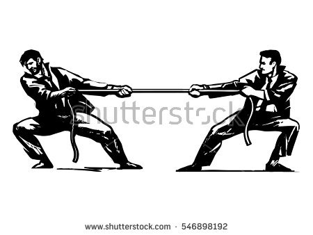 Tug of war.Two businessmen are pulling rope. Business competition concept.  Sketch style - Tug Of War PNG Black And White