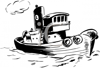 Tugboat PNG Black And White-PlusPNG.com-350 - Tugboat PNG Black And White