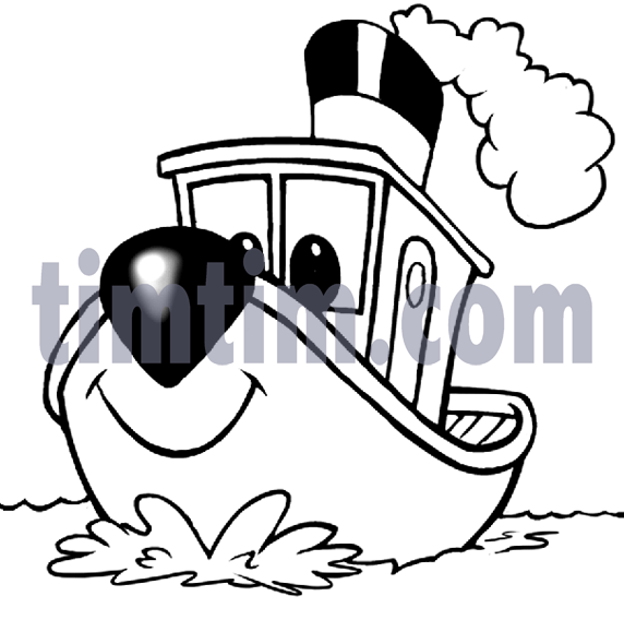 Free drawing of A Tugboat BW from the category Boat u0026 Sail - TimTim pluspng.com - Tugboat PNG Black And White