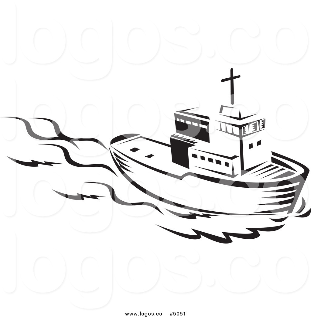 Royalty Free Vector of a Black and White Tug Boat Logo - Tugboat PNG Black And White