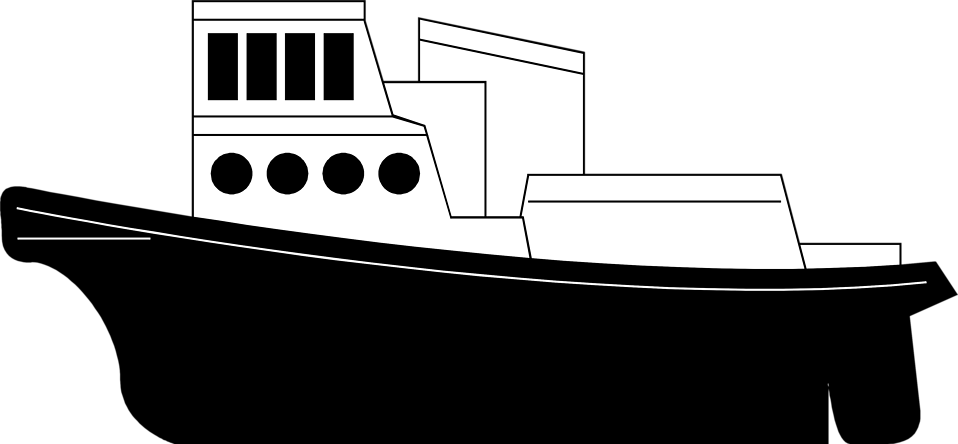 Ship Cliparts Black #2908725 - Tugboat PNG Black And White