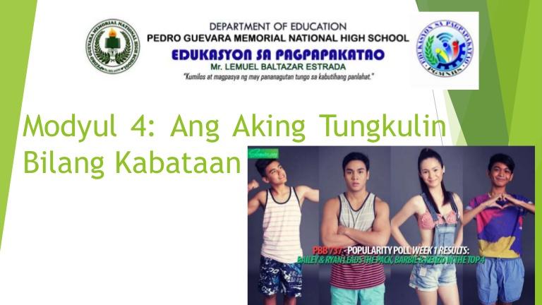 ESP 7 Modyul 4 ANG AKING TUNGKULIN BILANG KABATAAN - Tungkulin Bilang Anak PNG