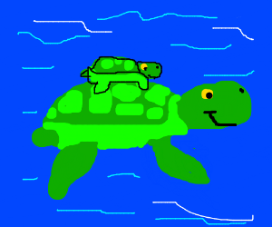 Mama turtle with baby turtle on its back - Turtle On Its Back PNG