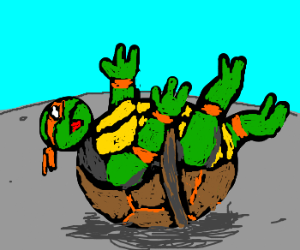 Overweight Ninja Turtle stuck on back - Turtle On Its Back PNG
