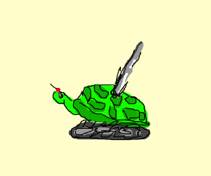 robo turtle with giant metal rod on its back - Turtle On Its Back PNG