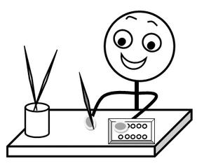 Aufforderung: Malsachen bereitlegen s-w - Hinweis, Impulskarte,  Illustration, Zeichnung, Aufforderung, - Tuschkasten PNG