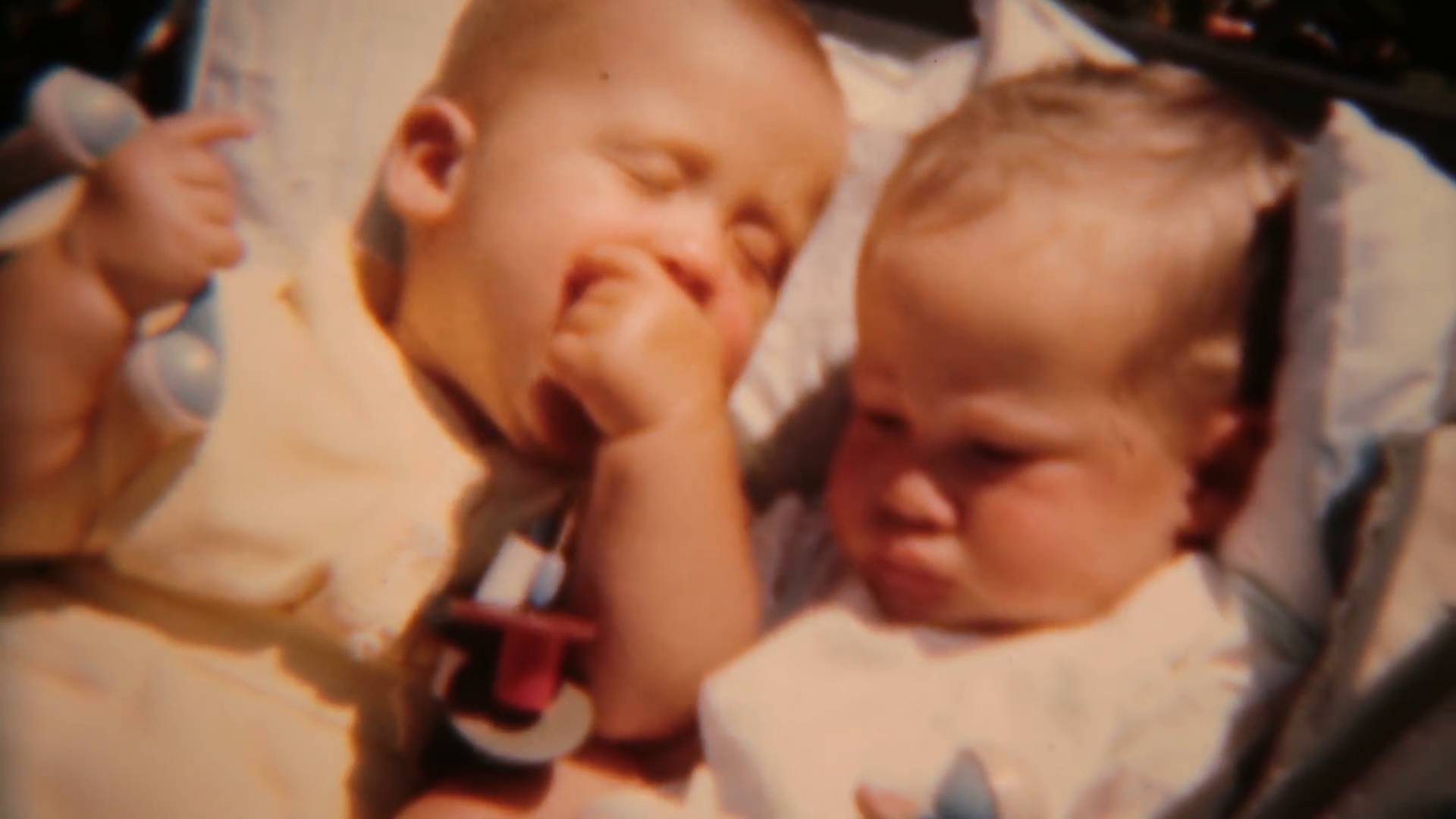 Twin babies playing with small toys Vintage film 0105 Stock Video Footage -  VideoBlocks