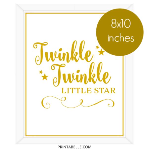 Twinkle Little Star Printable Sign - Twinkle Twinkle Little Star PNG