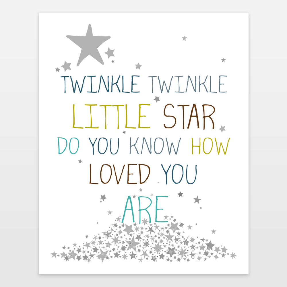 Twinkle Twinkle Little Star Do You Know How Loved You Are - Blue Art Print  by FinnyandZook on BoomBoomPrints - Twinkle Twinkle Little Star PNG