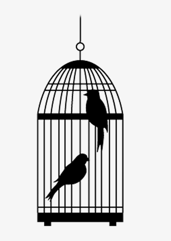 A cage of two birds, Cage, Black, Birdie PNG Image and Clipart - Two Birds PNG Black And White