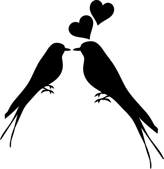 Birds Kissing Clip Art at Clker pluspng.com - vector clip art online, royalty free  u0026 public domain - Two Birds PNG Black And White
