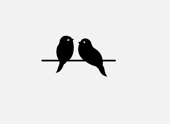 cute icons of two birds on a wire - Two Birds PNG Black And White