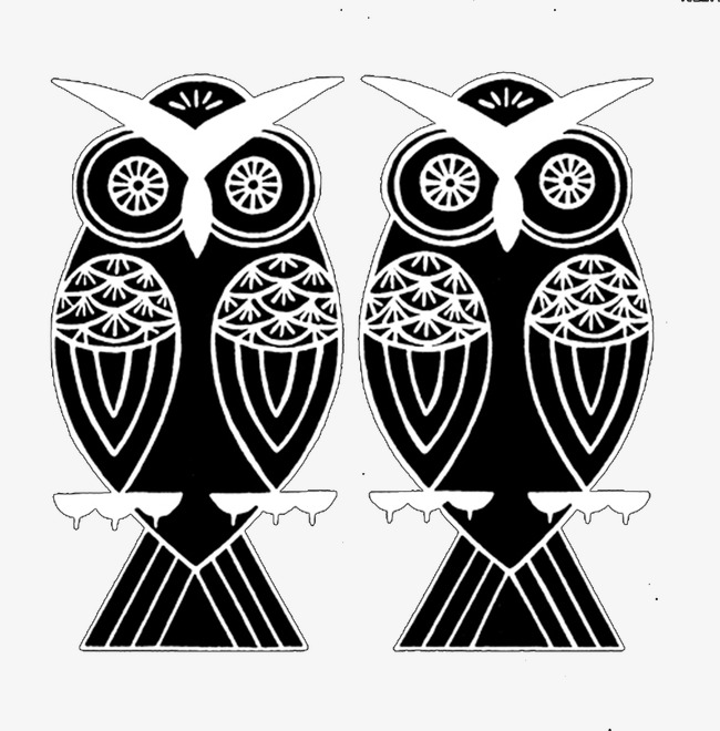 owl, Black And White, Grain, Two Birds PNG Image and Clipart - Two Birds PNG Black And White