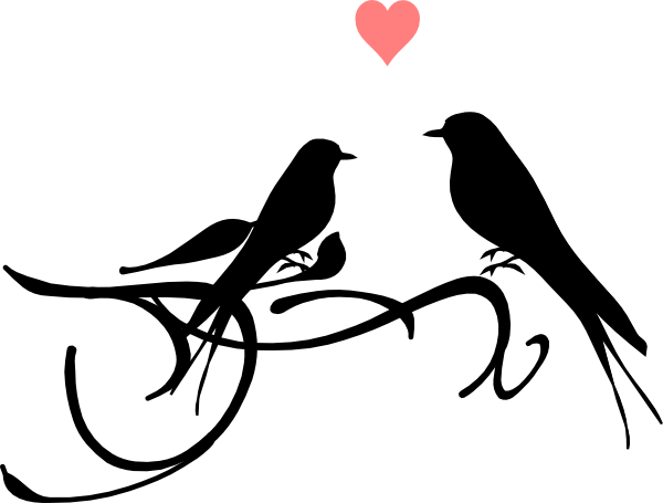 wedding love birds clipart black and white 2 - Two Birds PNG Black And White