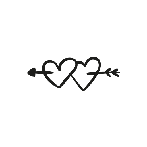 an arrow piercing two hearts symbols - Two Black Heart PNG