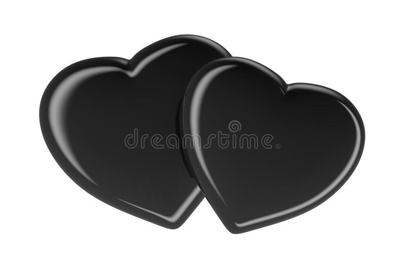 Download Two Black Hearts Isolated On White Stock Image - Illustration of  romance, color: - Two Black Heart PNG