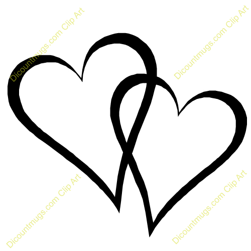Two Black Heart Clipart. Interlocking Hearts Clipart #2033288 - Two Black Heart PNG