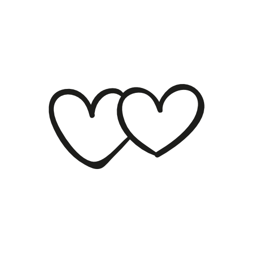 two heart icons - Two Black Heart PNG