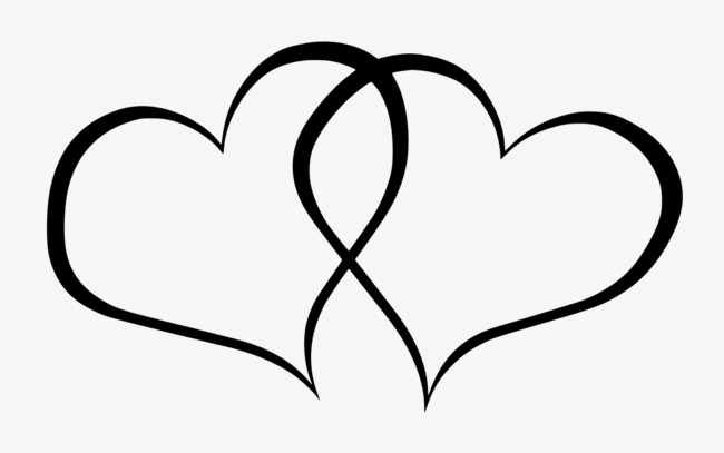 Two love, The Wedding, Love, Cartoon Hand Drawing PNG Image and Clipart - Two Black Heart PNG