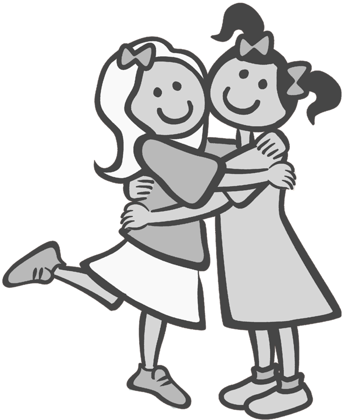 Best drawing clipart - Two Friends PNG Black And White