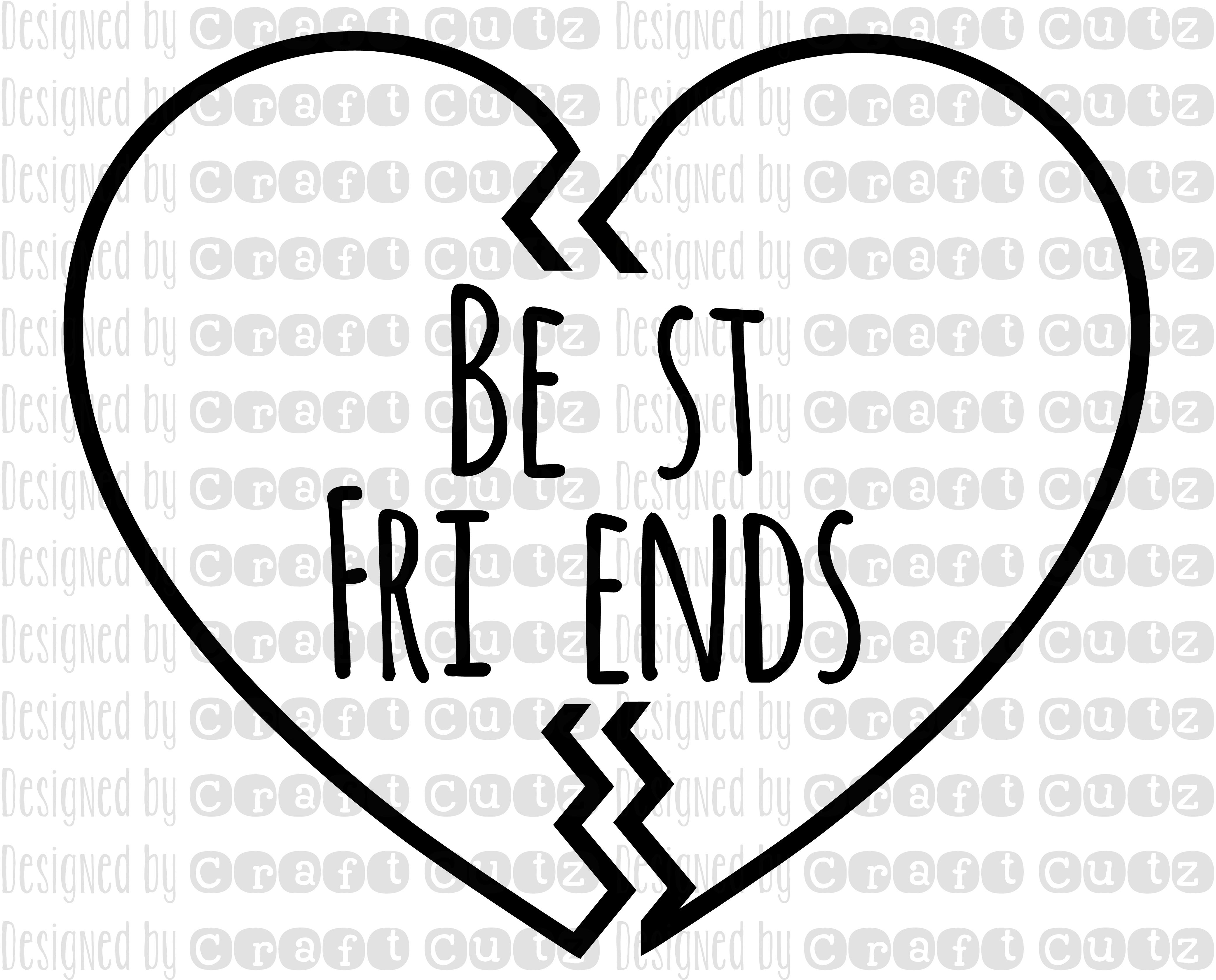 Best Friends Svg, Best Friends Dxf, Digital Download, Heart Svg, Best Friend - Two Friends PNG Black And White