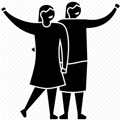 boy and girlfriend, friendship day, happy friends, people, two best friends  icon - Two Friends PNG Black And White