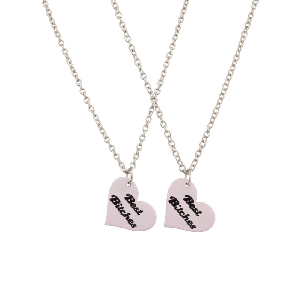 Candy Heart Best Bitches Light Pink BFF Best Friends Forever Necklace Set (2  PC) - Two Friends PNG Black And White
