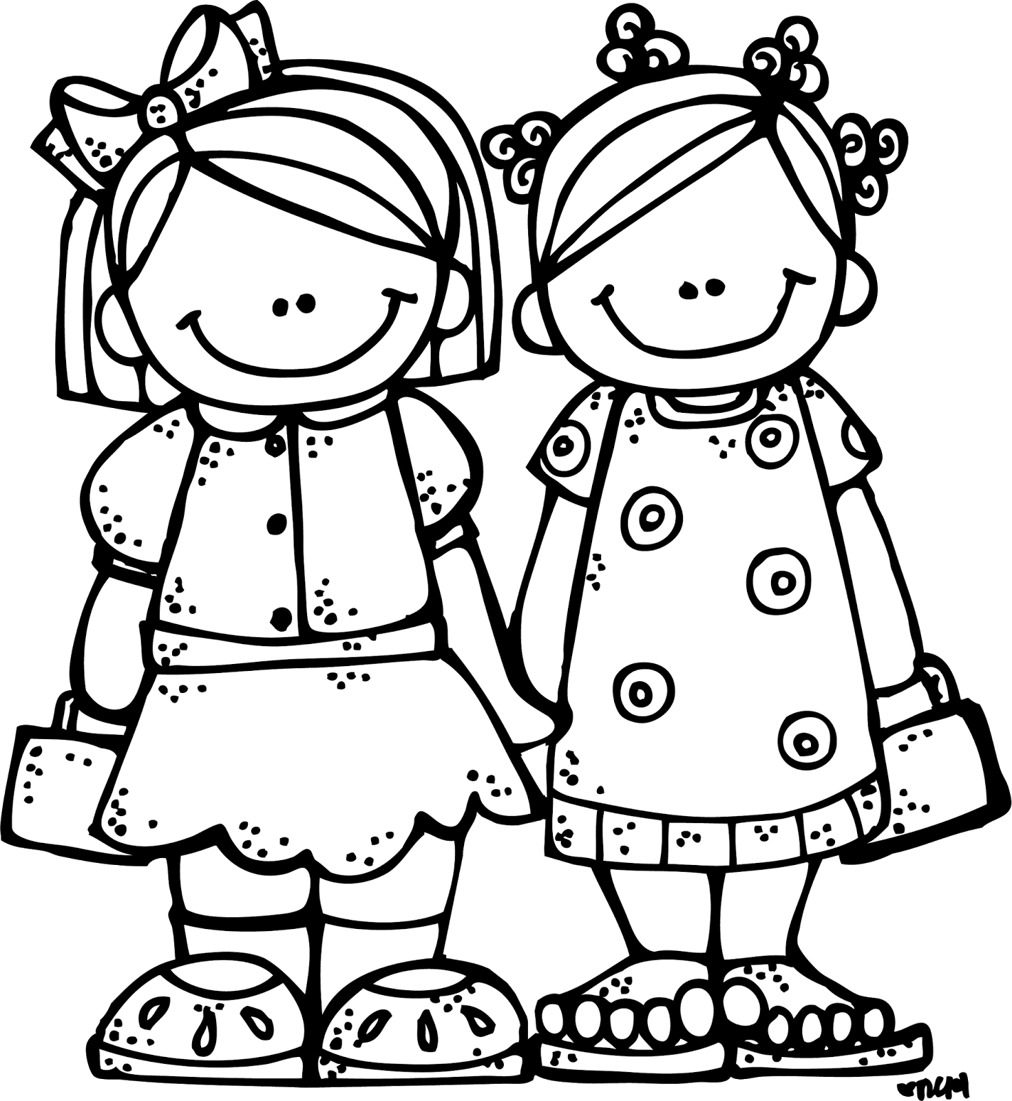 Friend Clipart Black And White - Two Friends PNG Black And White