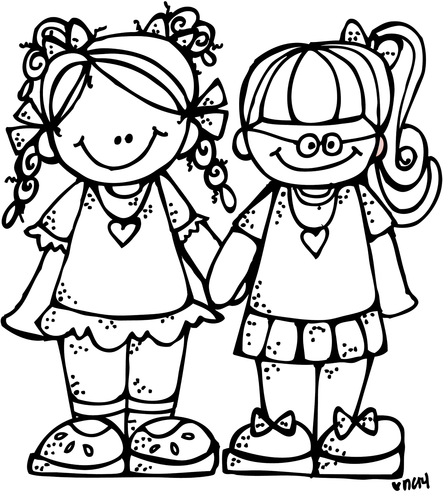 Two Friends PNG Black And White