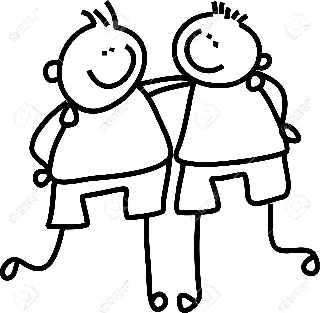 line drawing of two little boys who are good friends Stock Photo - 3133848 - Two Friends PNG Black And White