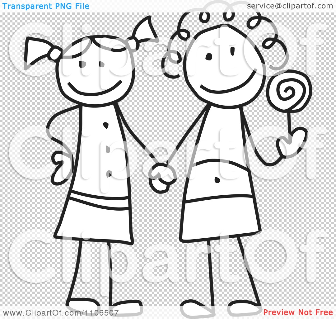 PNG file has a PlusPng.com  - Two Friends PNG Black And White