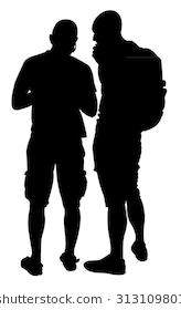 Silhouette of two friends - Two Friends PNG Black And White