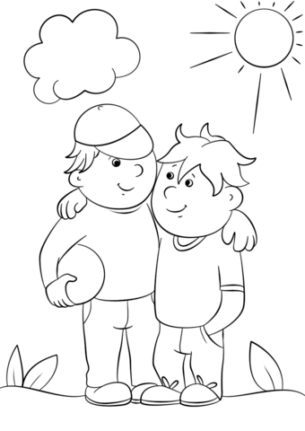 Two Best Friends Coloring Page - Two Friends PNG Black And White