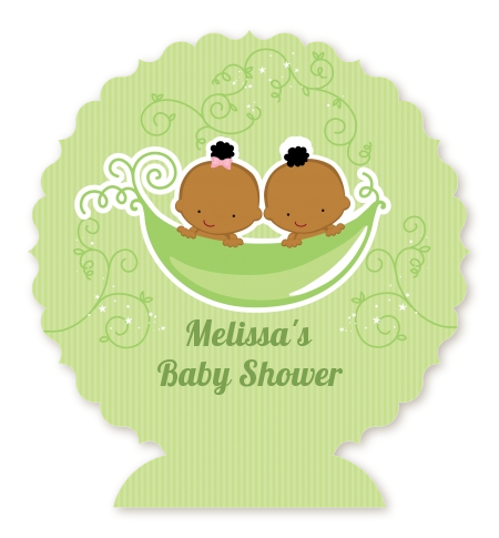 Twins Two Peas in a Pod African American - Personalized Baby Shower  Centerpiece Stand One Girl - Two Peas In A Pod PNG