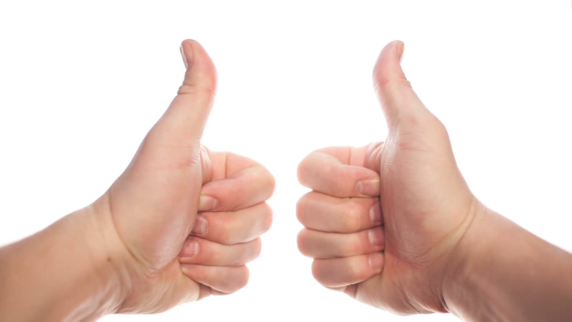 Two hands appearing on white background and showing thumbs up, disappearing  at the end Stock Video Footage - VideoBlocks - Two Thumbs Up PNG HD