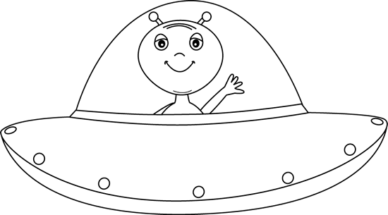 Black and white alien in ufo clip art - Ufo PNG Black And White