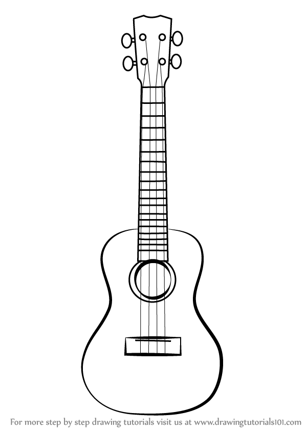 Learn How to Draw a Ukulele (Musical Instruments) Step by Step : Drawing  Tutorials - Ukulele PNG Black And White