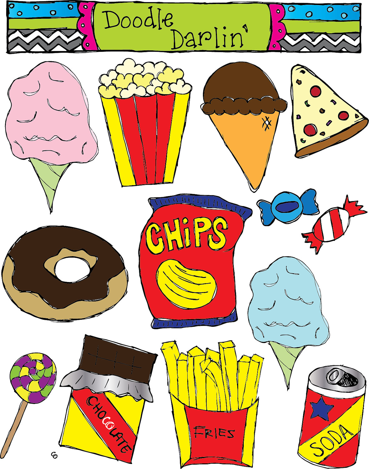 junk food combo clipart set instant download by doodledarlin - Unhealthy Foods For Kids PNG