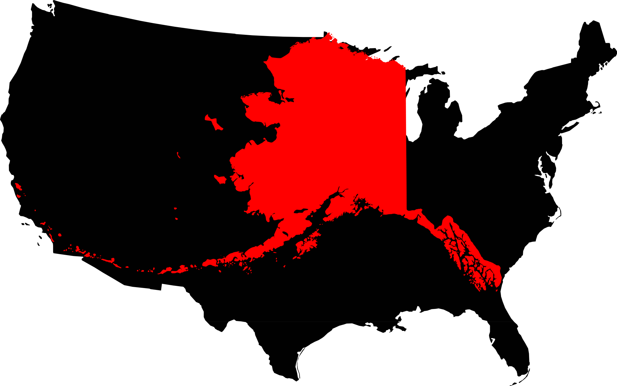 File:Alaska Compared To The United States Map.png - United States PNG